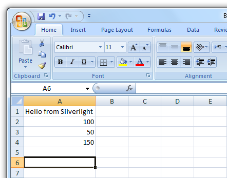 Silverlight and Excel