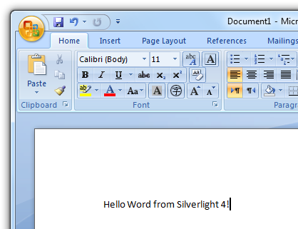 Word and Silverlight